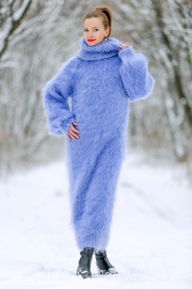 ad8b55f57a4 Blue hand knitted mohair dress slouchy long sweater extra fuzzy gown  SUPERTANYA #SUPERTANYA #TurtleneckMock