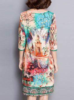 Silk Vintage Landscape Print Loose Dress