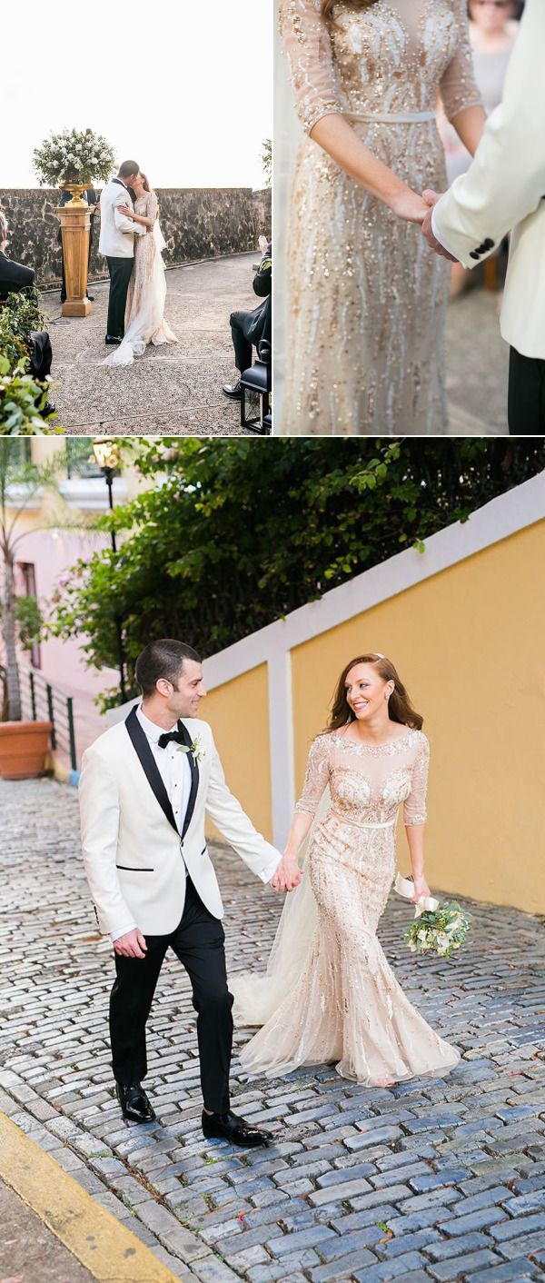 A Gold Beaded Gown Set the Stage for a Glam Puerto Rican Wedding – Style Me Pretty