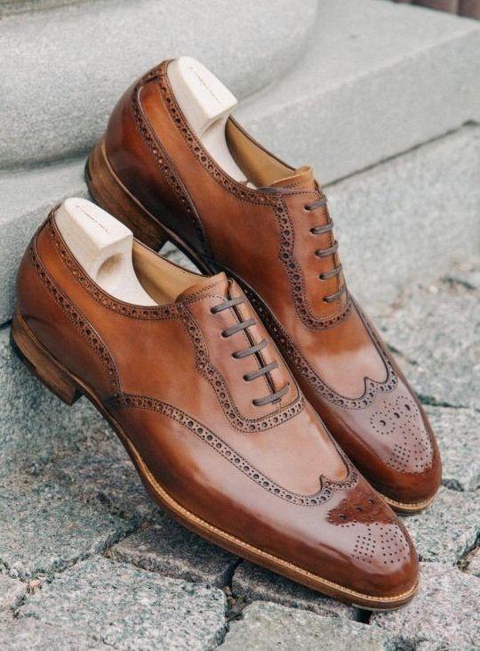 641b4cdb9dbb5 Handmade Men's Designer Brogues Wing Tip Italian Leather Shoes, Luxury shoes