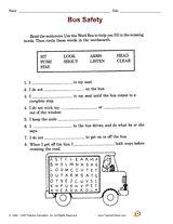 Bus Safety (School Safety Printable, 2nd Grade) - TeacherVision.com