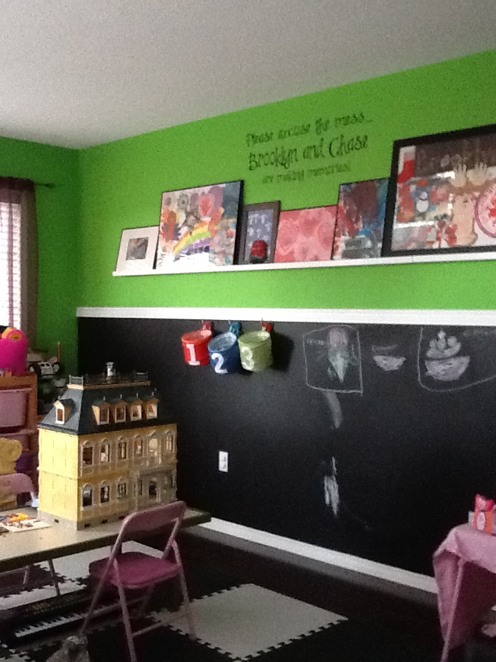 Playroom--half chalkboard paint wall | Playroom ideas ...