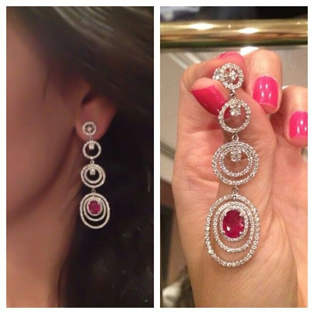 Diamond & Ruby earring #bjc #bahrainjewellerycentre #diamond #ruby #white #gold #earring