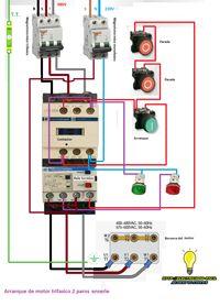 Esquemas eléctricos: arranque de motor trifasico 2 paros en serie