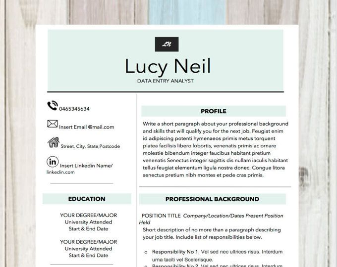 Professional Resume Template, Modern Resume, Resume Template , Professional CV for Word, Cover Letter + Instant Download