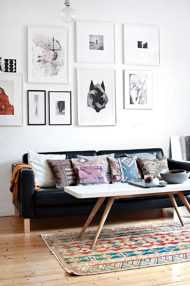 Miss Moss : Catch Up: Spaces - casual chic living room with southwestern pillows, ikea/ mid-century furniture and b quirky gallery wall