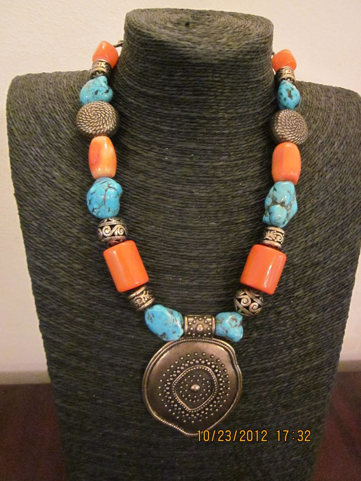 Coral brass and turquoise fabricated beads
