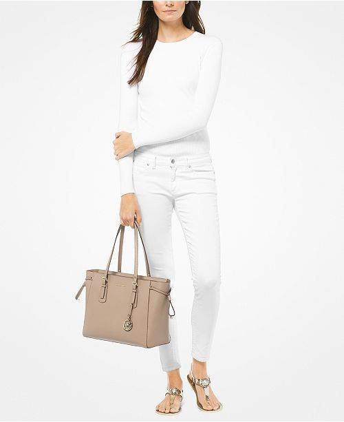 a6b36a6ffe223c Michael Kors Voyager Medium Crossgrain Leather Tote - Handbags &  Accessories - Macy's