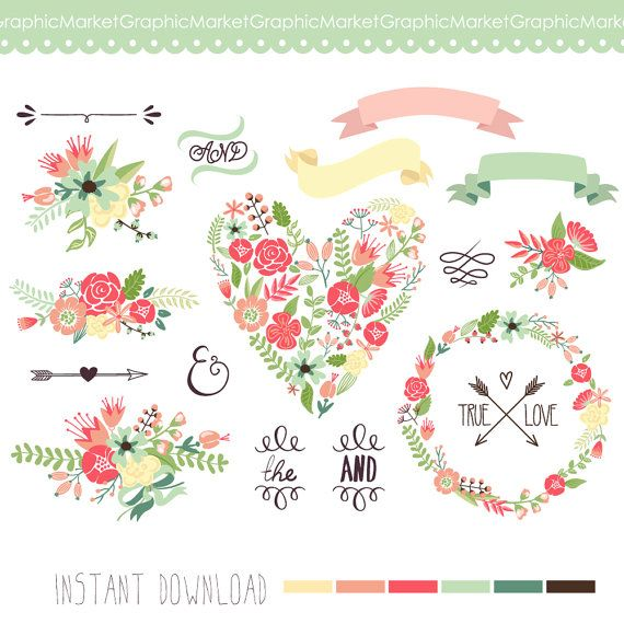 15 unique Floral clip art, wreaths, laurels, arrows, flowers, heart, ribbons, banners, floral elements and signs and and the, typography,