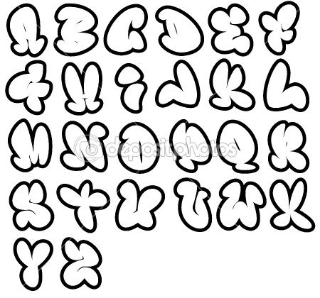 26 graffiti fonts, Funny bubble alphabet,can be used in a variety of ways. by johnjohnson - Stock Photo