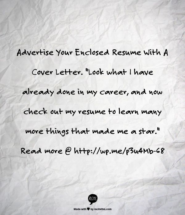 advertise your enclosed resume with a cover letter - Resume With Cover Letter