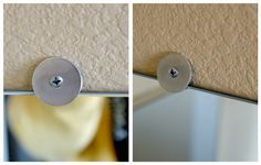 How to frame bathroom mirror that has plastic clips - 1)Use thinnest washer poss. 2)Remove clip 1 @ a time. 3)Use same screw & swap out clips with washer. Moulding will fit flat against wall. 4)Use liquid nails to secure moulding. Brilliant!!!! - doing this this week in two of our bathrooms!
