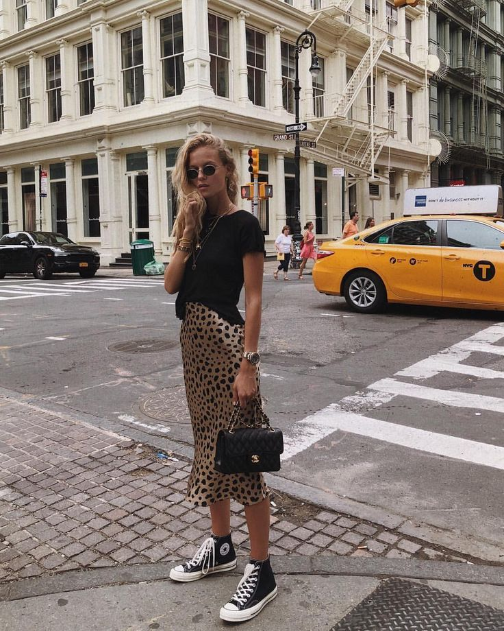ef0d036a366b leopard print skirt and a black t-shirt and black converse. Visit Daily  Dress Me at dailydressme.com for more inspiration women's fashion 2018, ...