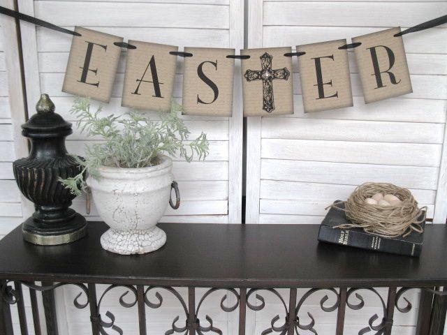 Easter Banner - rustic elegance - Easter decor, home decor, spring banner, Easter photo shoot. $15.00, via Etsy.