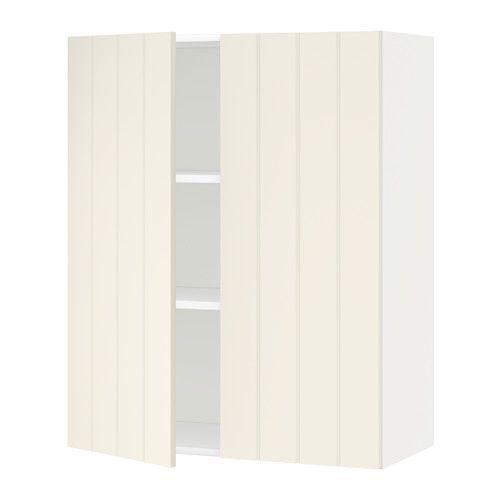 METOD Väggskåp med hyllplan/2 dörrar - vit, Hittarp off-white, 80x100 cm - IKEA