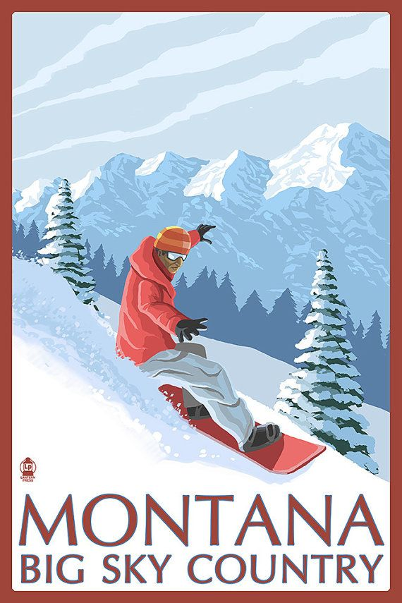 Montana  Big Sky Country  Snowboarder Art by NightingaleArtwork