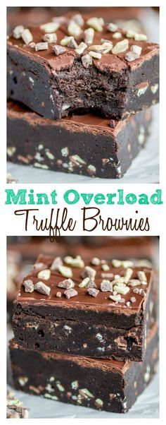 Mint Overload Truffle Brownies. These are possibly the best creation on the planet. A super-rich, fudge brownie loaded with minty flavor, topped with a lucious mint truffle layer and smothered in a mint-spiked chocolate coating.