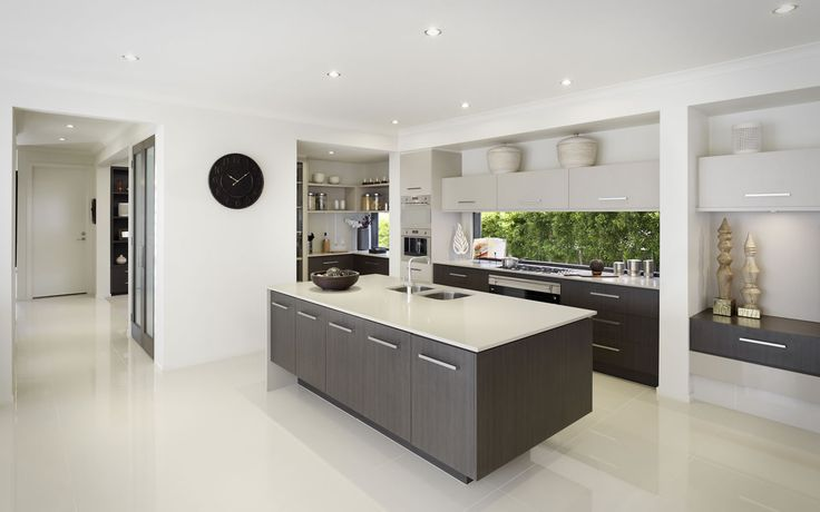 THIS KITCHEN, THIS LAYOUT, Window Splashback, Cupboards, Waterfall island bench, Butlers Pantry, Fridge where clock is, Maybe longer top cupboards??, Turn Cupboards on right into study nook, Metricon Homes