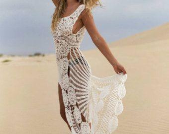 Playa Jade de lino y ganchillo de corto por EllennJames en Etsy