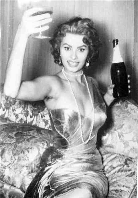 Sofia Loren says cheers to us . http://blog.bradswine.com/brads-wine-facts-toasting-origins/