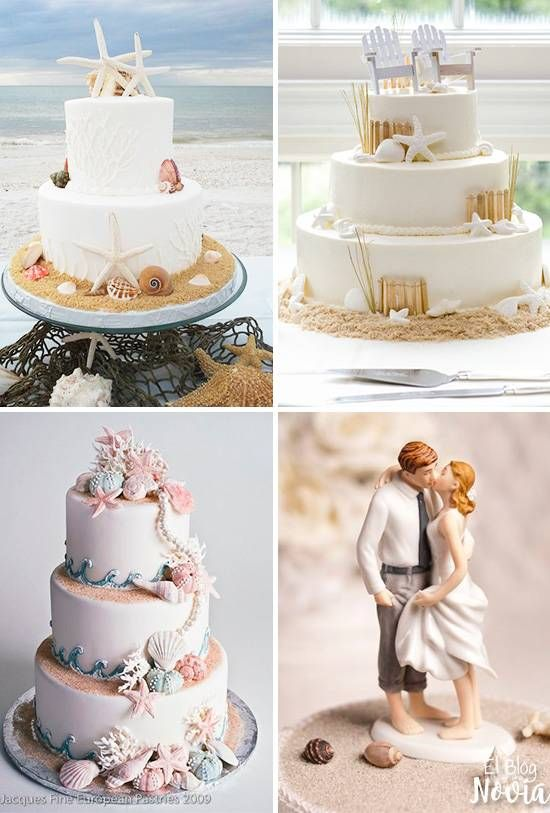 Pasteles de boda playa