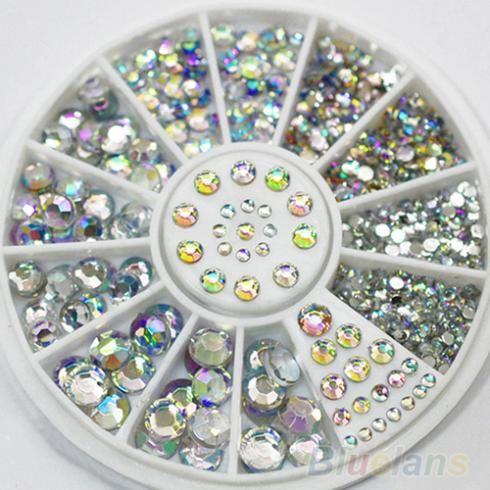 Venda quente 5 tamanhos branco Multicolor acrílico Nail Art decoração pedrinhas Glitter adesivos 02YR 3EUZ alishoppbrasil