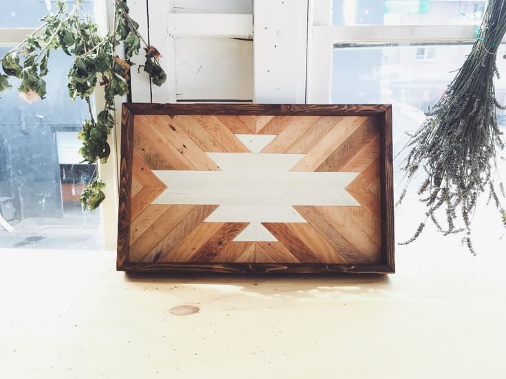 Rustic Reclaimed Salvaged wood Southwestern Geometric style serving tray, made in Seattle, WA by Timshel Woodworking