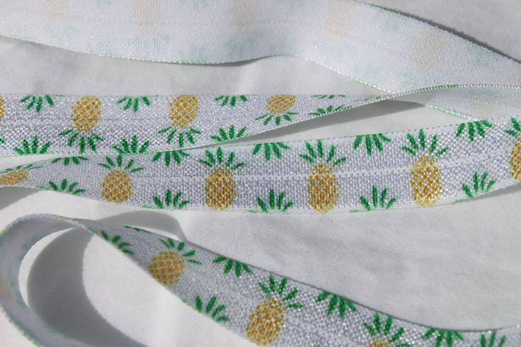 "Pineapple FOE 5/8"" -Fold Over Elastic 5/8 inch by the yard...Print FOE, Headbands, Hair Ties and More!"