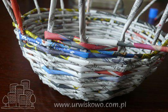 """Jak zrobić koszyk z papierowej wikliny krok po kroku ~ """"URWISKOWO"""""""