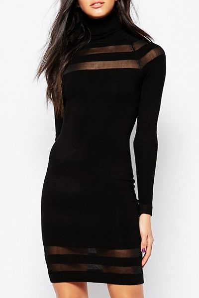 See-Through Stripe Spliced Turtle Neck Dress: