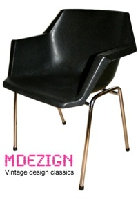 http://www.mdezign.info   6  black polypropylene chair    Design: unknown    Manufacturer: Unknown    Design year: 1970's ?    Color: black, chrome