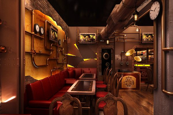 Chonas steampunk restaurant by abhishek majumder via for Steampunk living room ideas