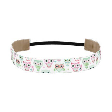 pastel powder color owl background athletic headband #pastel #pattern #accessories