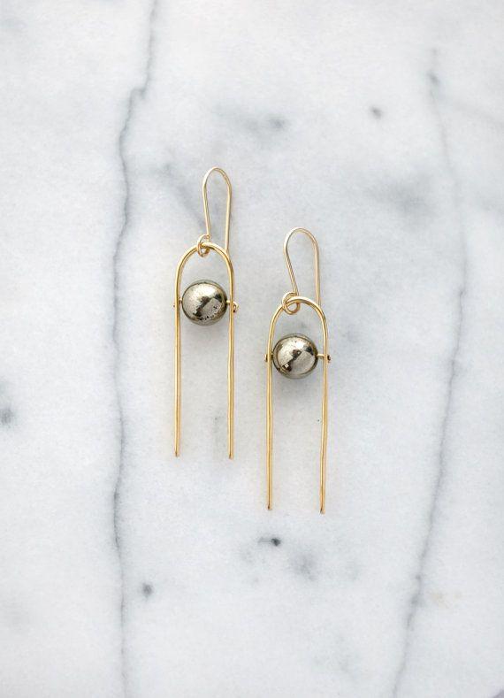 Pyrite spheres on hammered brass earrings