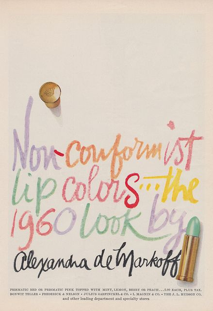 Alexandra deMarkoff lipstick @ 1960 on-Conformist Colors...Prismatic Red or Prismatic Pink Topped With Mint, Lemon, Berry or Peach...