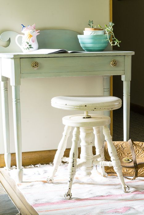 Layla's Mint Console Desk- antique piano stool