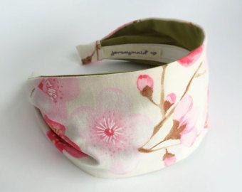 Stirnbänder für Frauen japanische Kirschblüte Stoff-Band - rosa Blüten Sakura Haarband - Stirnband in weiß mit Blumen - Erwachsenen Haarband