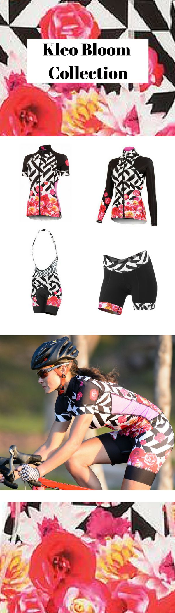 Women's cycling tops, bottoms, jerseys, bibs, accessories, and more available in Kleo Bloom, the perfect print for spring!