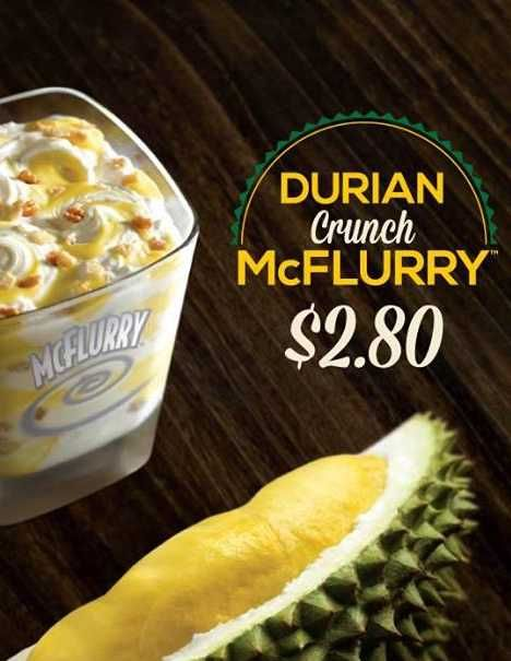 McDonald's Durian Crunch McFlurry, from Singapore