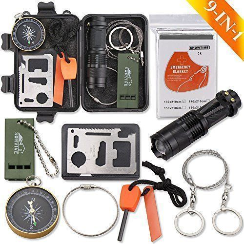Emergency Survival Kit, Monoki 9-In-1 Compact Outdoor Survival Gear Kits Portable EDC Emergency Survival Tools Set with Gift Box for Camping Hiking Hunting Climbing Travelling or Wilderness Adventures. For product & price info go to:  https://all4hiking.com/products/emergency-survival-kit-monoki-9-in-1-compact-outdoor-survival-gear-kits-portable-edc-emergency-survival-tools-set-with-gift-box-for-camping-hiking-hunting-climbing-travelling-or-wilderness-adventures/