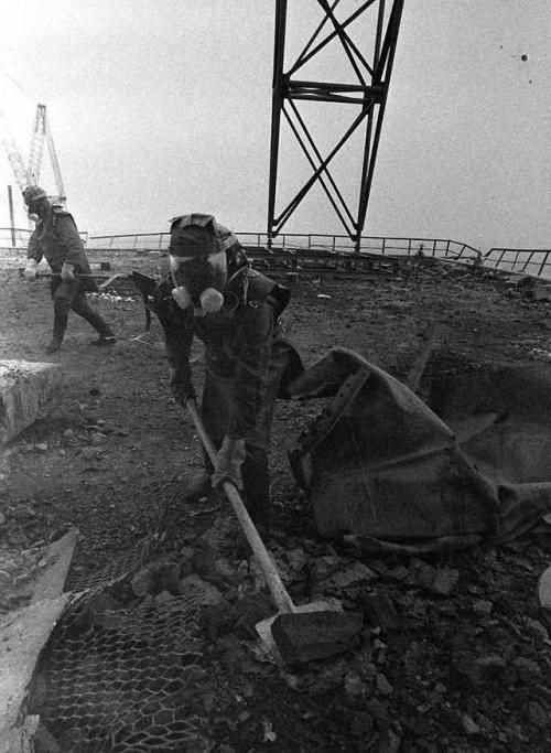 Liquidators on the roof of Reactor Three, Chernobyl, 1986