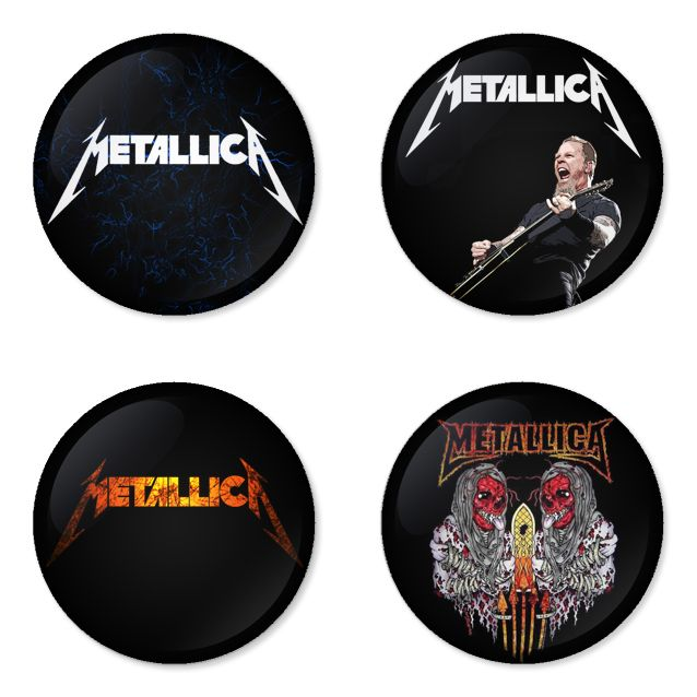 METALLICA Rock Band logo Button Badge 1.75 inch Set. 4 pcs in package. You can choose back side of badge. we have Pinback ($7.49), Fridge Magnet ($8.49), Pocket Mirror ($8.49), Bottle opener Keychain ($9.99). The best Ideas Gift for men, Birthday, Party, Fashion, Concert. Members is james hetfield, dave mustaine, lars ulrich, cliff burton, kirk hammett, robert trujillo, jason newsted. Their Famous studio album is metallica, reload, master of puppets, load, and justice for all, kill 'em all.