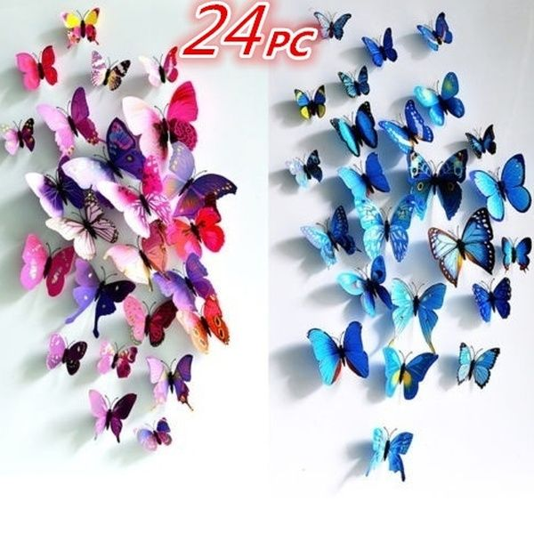 24Pcs 3D Butterfly Sticker Art Design Decal Wall Stickers Home Room Decoration