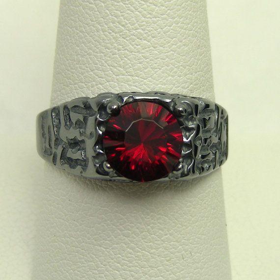Blood Red Mens Ruby Ring Ruby Mens Ring by MensRingsandJewelry
