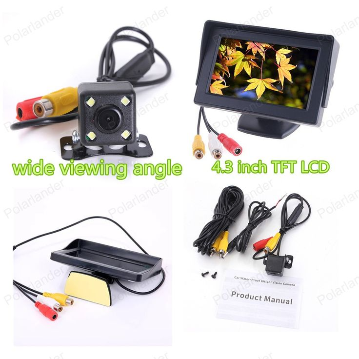 4.3 inch TFT-LCD display screen rearviwe monitor  + 4 LED backlight display reverse parking camera for car parking