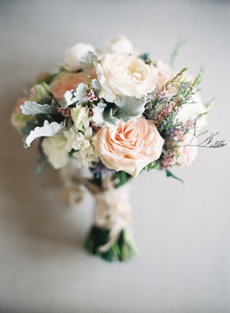 Elegant and Delicate Wedding Bouquet -- See more of the wedding here: http://www.StyleMePretty.com/2014/05/14/vintage-wedding-that-fully-embrace-the-pastel-color-trend/ Photography: ByronLovesFawn.com - Floral Design: GreenAndBloom.com