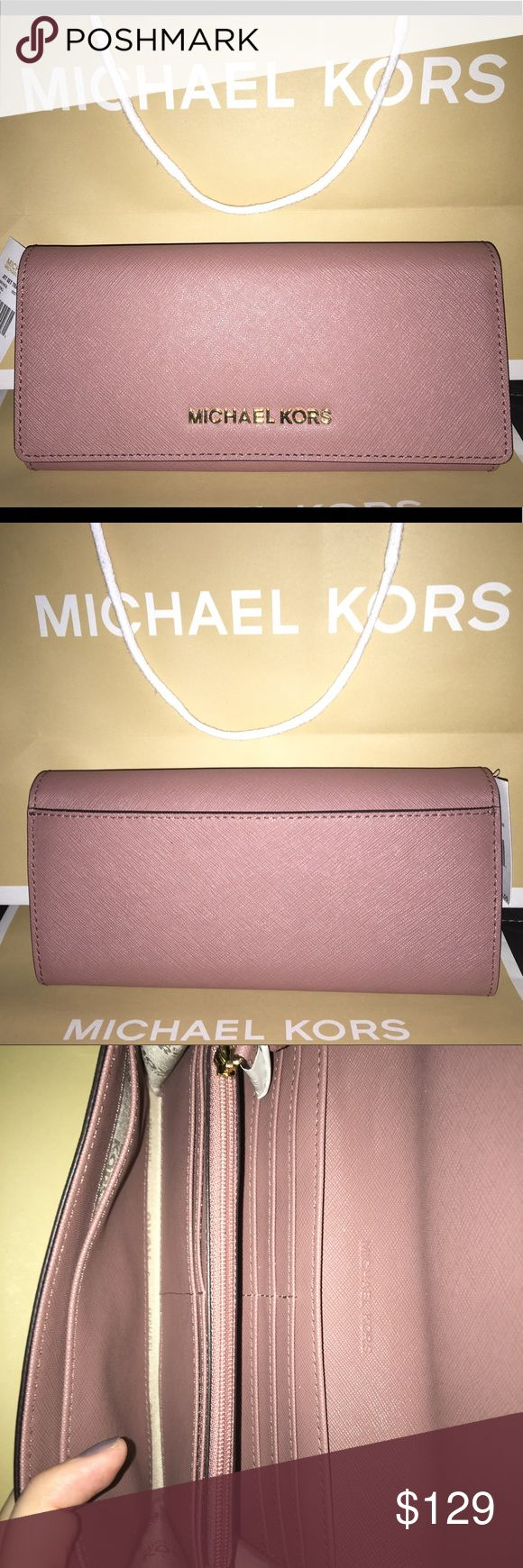 Michael Kors Jet Set Travel Wallet NWT Michael Kors Jet Set Travel Wallet! MK carryall design and water and scratch-resistant saffiano leather in gorgeous dusty rose color! Stainless-steel, gold-toned Michael Kors lettering. 10 internal card slots, 1 internal zip-close pocket, 2 side internal slip pockets, 2 internal open compartments, and 1 external back slip picket. Light-tan internal linen lining for easy-finding of belongings. Snap-closure.  Item code: 35H6GYAE3L Michael Kors Bags…