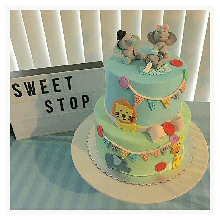 Baby shower cake elephant family fondant cake topper.