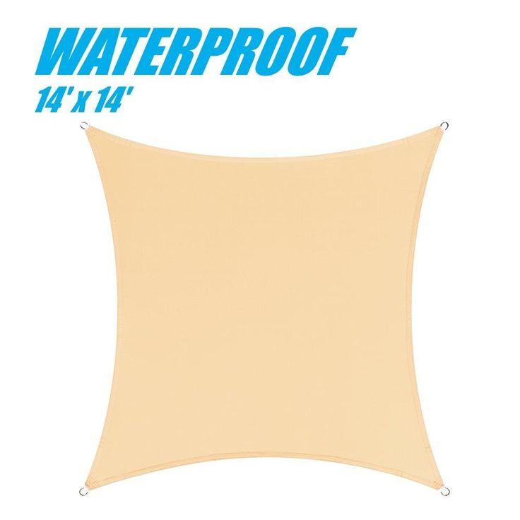 100% BLOCKAGE Waterproof 14' x 14' Sun Shade Sail Canopy Square Beige