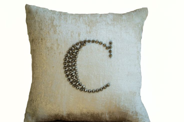 Cream Sequin Throw Pillows : Ivory White Velvet throw pillows studded embroidery -Personalized sequin pillow case -cream ...
